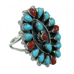 Southwest Turquoise And Coral Silver Jewelry Ring Size 7-1/4 AX82054
