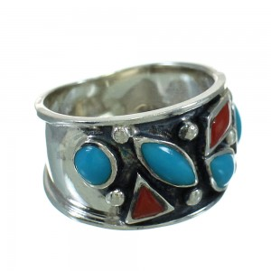 Southwest Turquoise And Coral Sterling Silver Jewelry Ring Size 8-1/4 AX82138