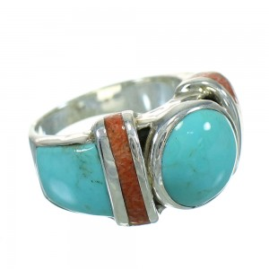 Southwestern Sterling Silver Apple Coral And Turquoise Ring Size 4-1/2 AX82291