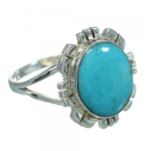 Turquoise Authentic Sterling Silver Southwestern Ring Size 6-3/4 YX69970