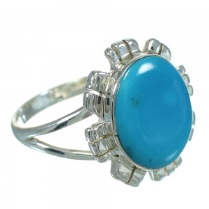 Turquoise And Sterling Silver Southwestern Jewelry Ring Size 7-1/4 YX69997