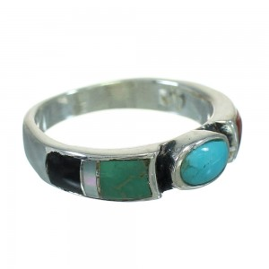 Authentic Sterling Silver Southwest Multicolor Inlay Ring Size 6-1/2 QX70687