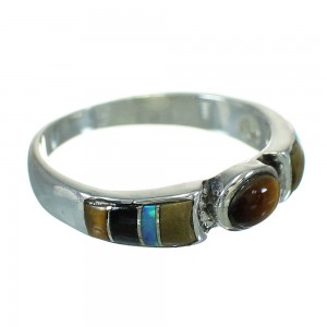 Southwest Genuine Silver Multicolor Inlay Ring Size 7-1/4 QX70725