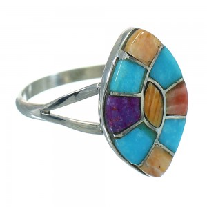 Southwestern Multicolor Inlay Genuine Sterling Silver Ring Size 7-1/2 QX71028