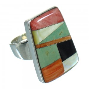 WhiteRock Sunset Sterling Silver Multicolor Ring Size 6-3/4 QX71456