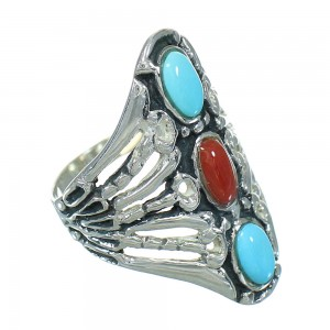 Coral And Turquoise Southwest Sterling Silver Ring Size 8-1/4 WX82538