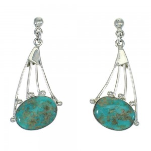 Southwest Turquoise And Sterling Silver Post Dangle Earrings RX64988