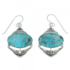 Sterling Silver And Turquoise Hook Dangle Earrings YX78765