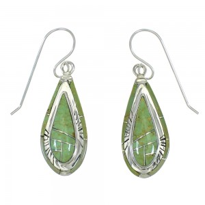 Southwest Silver And Turquoise Tear Drop Hook Dangle Earrings YX78773