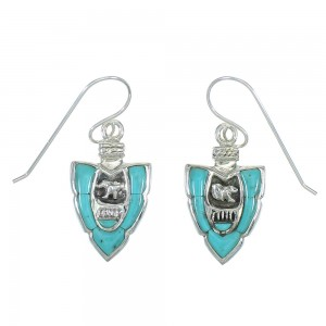 Turquoise And Sterling Silver Bear Arrowhead Hook Dangle Earrings YX78856