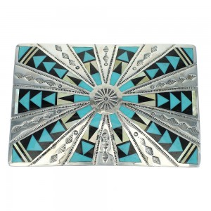 Authentic Sterling Silver Multicolor Inlay Belt Buckle VX64755