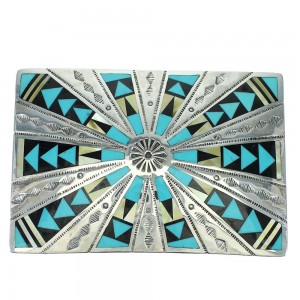 Southwest Genuine Sterling Silver Multicolor Inlay Belt Buckle VX64762