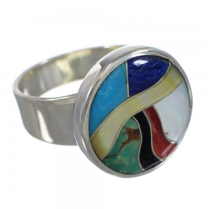 Multicolor And Authentic Sterling Silver Southwestern Ring Size 7 YX77510