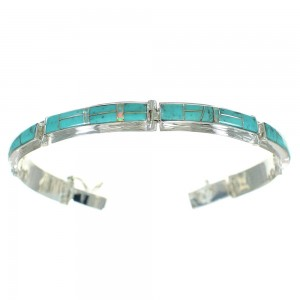 Southwest Turquoise And Opal Inlay Silver Link Bracelet AX64969