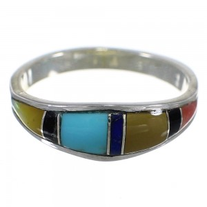 Southwest Multicolor Inlay Genuine Sterling Silver Ring Size 8-1/2 QX77934