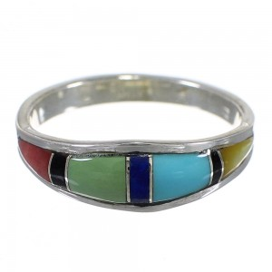 Genuine Sterling Silver Multicolor Inlay Southwest Ring Size 5-3/4 QX77956