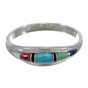 Multicolor Southwestern And Silver Ring Size 8-3/4 QX78151