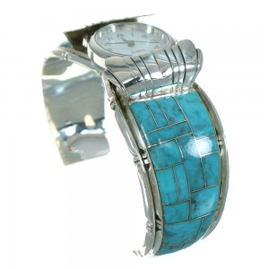 Southwest Authentic Sterling Silver Turquoise Inlay Cuff Watch RX65846