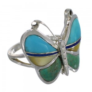 Silver And Multicolor Inlay Southwestern Butterfly Ring Size 4-3/4 WX75229
