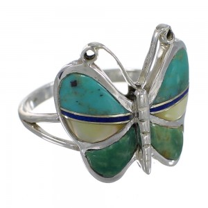 Southwestern Multicolor Inlay And Silver Butterfly Ring Size 8 WX75245