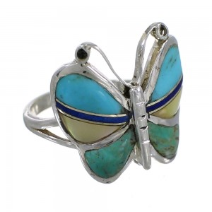 Southwestern Silver And Multicolor Inlay Butterfly Ring Size 5-1/4 WX75325