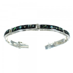 Native American Galaxy Design Sterling Silver Multicolor Inlay Link Bracelet RX69206