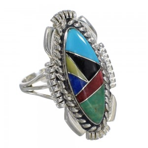 Genuine Sterling Silver Southwestern Multicolor Inlay Ring Size 8-1/2 QX77767
