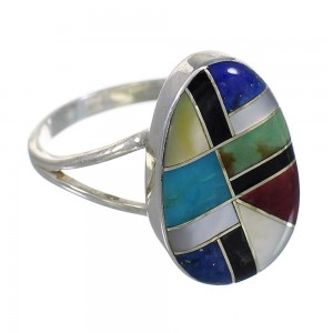 Multicolor Inlay Authentic Sterling Silver Southwest Ring Size 7 QX77781