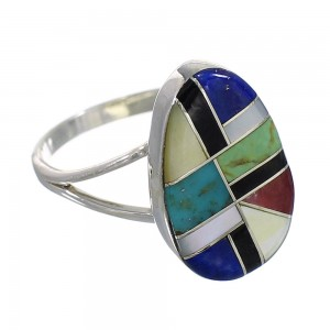 Multicolor Inlay Genuine Sterling Silver Southwestern Ring Size 7 QX77803
