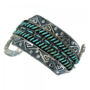 Authentic Sterling Silver Water Waves Turquoise Needlepoint Cuff Bracelet RX78340