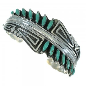 Turquoise Needlepoint Genuine Sterling Silver Water Waves Cuff Bracelet RX78388