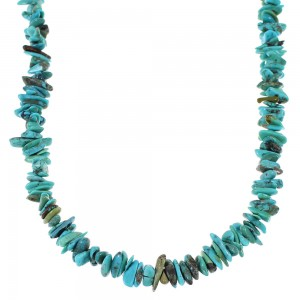 Southwest Genuine Sterling Silver Turquoise Bead Necklace KX65303
