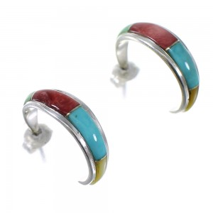 Southwestern Authentic Sterling Silver Multicolor Post Hoop Earrings QX72472