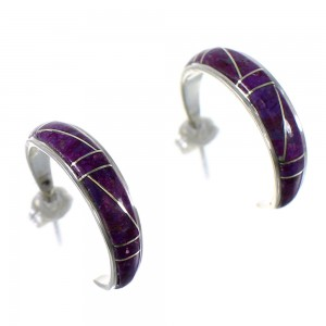 Authentic Sterling Silver Magenta Turquoise Southwest Post Hoop Earrings VX65426