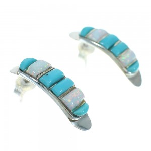 Turquoise And Opal Sterling Silver Southwest Post Hoop Earrings WX66228