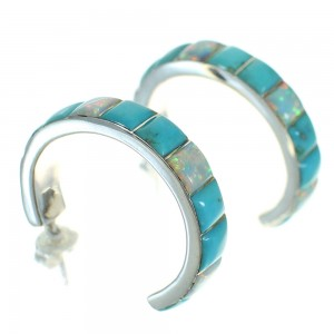 Southwestern Opal And Turquoise Sterling Silver Post Hoop Earrings WX66251
