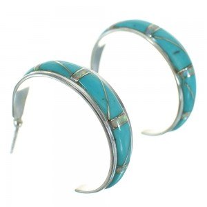 Southwest Opal And Turquoise Inlay Sterling Silver Post Hoop Earrings WX66383