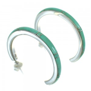 Silver Turquoise Inlay Southwestern Post Hoop Earrings AX66131