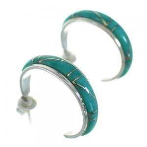 Turquoise Inlay Silver Jewelry Post Hoop Earrings AX66182