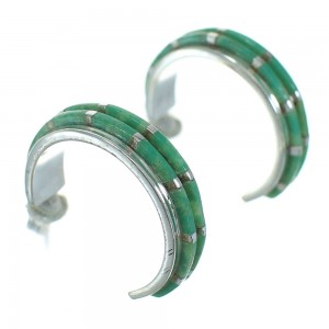 Silver Turquoise Inlay Southwest Post Hoop Earrings AX66248