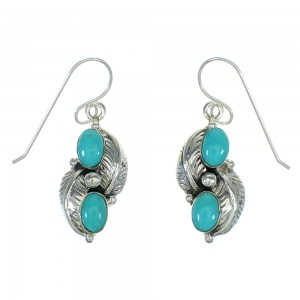 Southwestern Turquoise And Sterling Silver Leaf Hook Dangle Earrings WX73871