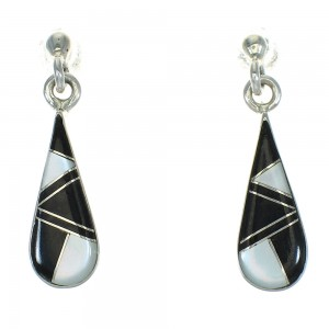 Authentic Sterling Silver Jet Mother Of Pearl Tear Drop Post Dangle Earrings RX66414