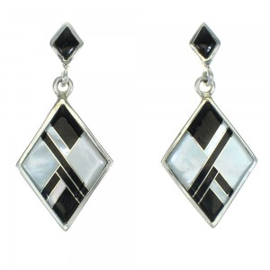 Sterling Silver Jet Mother Of Pearl Inlay Post Dangle Earrings RX66415