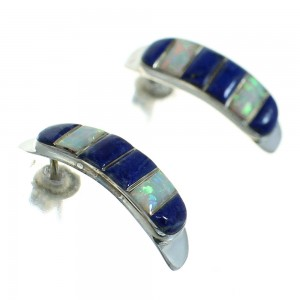 Southwestern Sterling Silver Lapis Opal Post Hoop Earrings RX65686