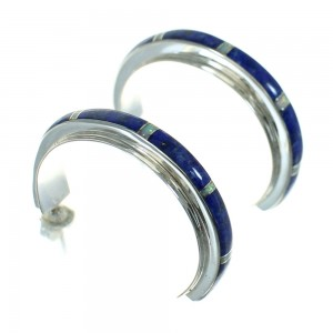Authentic Sterling Silver Lapis Opal Post Hoop Earrings RX65709