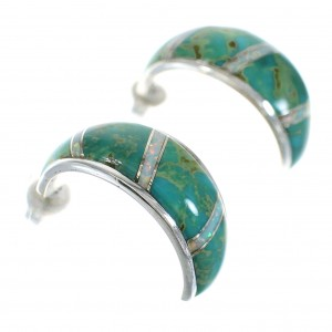 Turquoise Opal Inlay Authentic Sterling Silver Post Hoop Earrings RX66036