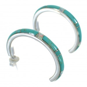 Genuine Sterling Silver Turquoise Opal Inlay Post Hoop Earrings RX66042