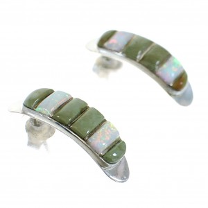 Sterling Silver Turquoise Opal Inlay Post Hoop Earrings RX66123
