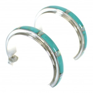 Sterling Silver Southwestern Turquoise Opal Inlay Post Hoop Earrings RX66156