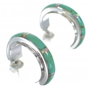Turquoise And Opal Inlay Southwestern Sterling Silver Post Hoop Earrings RX66213